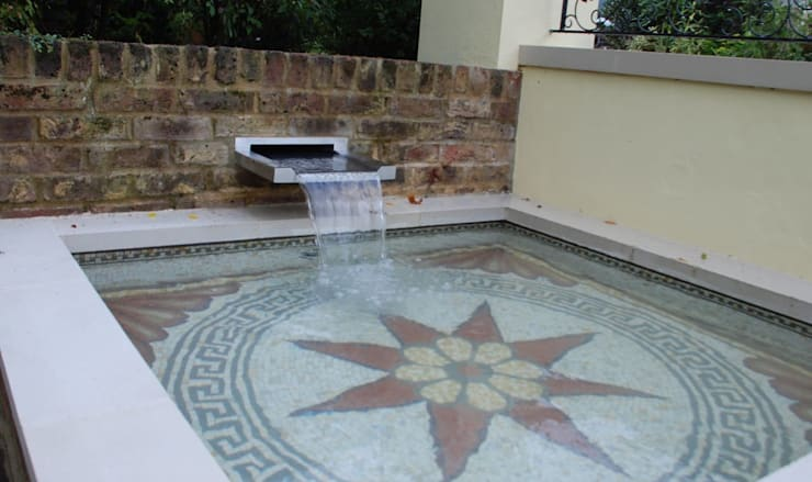 Mosaic for garden pool:   by Barry Holdsworth Ltd