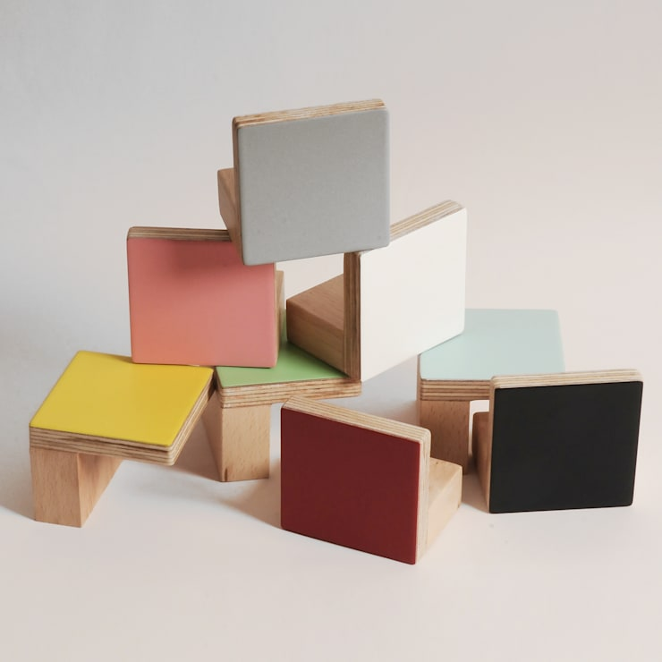 WOODEN WALL HOOKS, SQUARE DESIGN, PLAIN COLOURS:  Corridor, hallway & stairs by chocolate creative