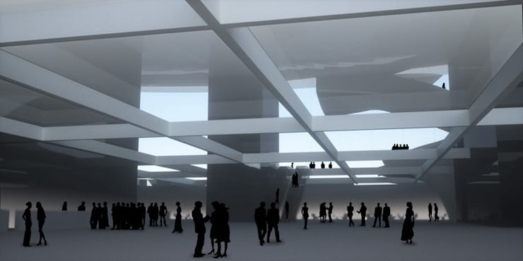 Vue de l'entrée: Palais des congrès de style  par Wen Qian ZHU Architecture