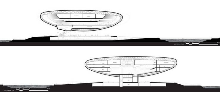 Coupes: Palais des congrès de style  par Wen Qian ZHU Architecture