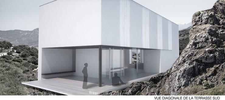Vue de terrasse1: Maisons de style  par Wen Qian ZHU Architecture