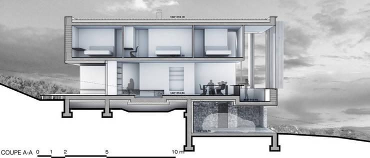 Coupe1: Maisons de style  par Wen Qian ZHU Architecture