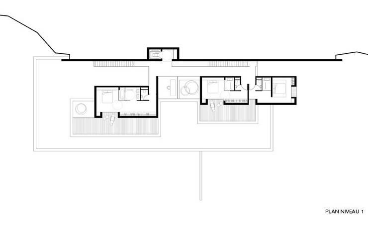 Plan niveau 1: Maisons de style  par Wen Qian ZHU Architecture