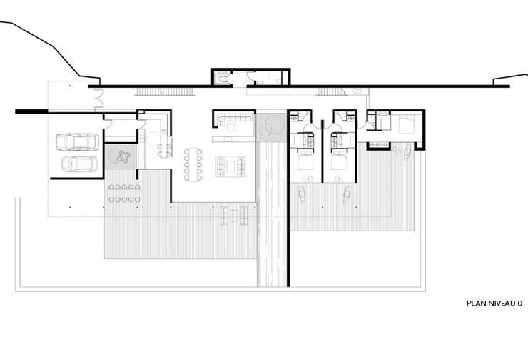 Plan niveau 0: Maisons de style  par Wen Qian ZHU Architecture