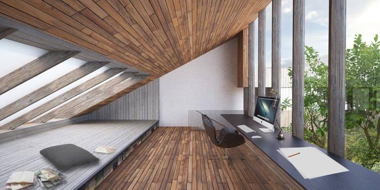Vue du bureau: Maisons de style  par Wen Qian ZHU Architecture