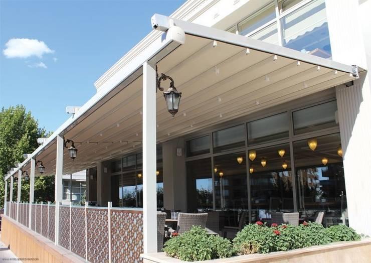 Enda Yapı – Raylı Tente Sistemi:  tarz Balkon, Veranda & Teras