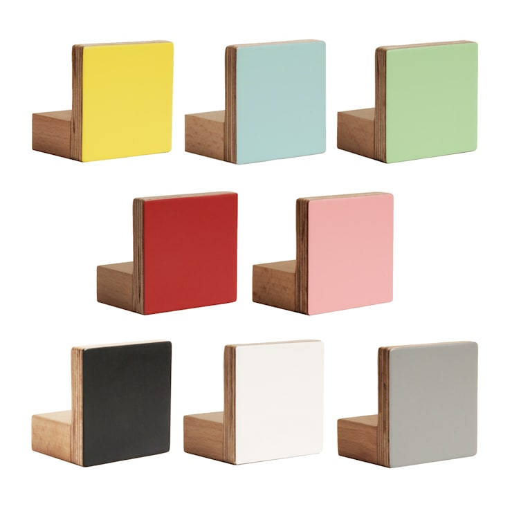WOODEN WALL HOOKS, SQUARE DESIGN, PLAIN COLOURS:  Nursery/kid's room by chocolate creative