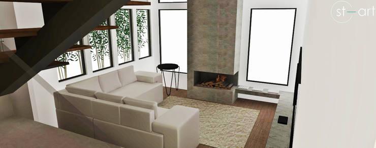 Projeto de Interiores de Residência: Salas de estar  por start.arch architettura