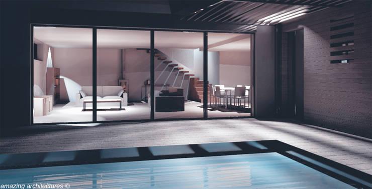 un espace de vie spacieux et généreux: Salon de style  par amazing architectures