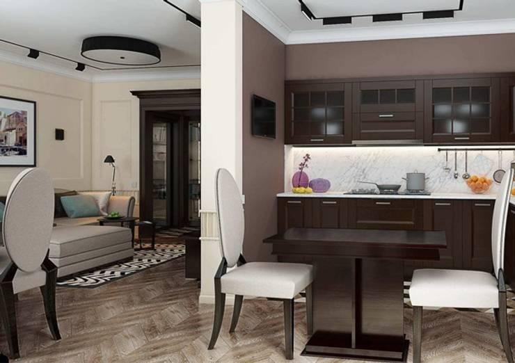 Кухня - Гостиная в стиле Ар деко с современными элементами: Гостиная в . Автор – Павел Белый и дизайнеры, Классический