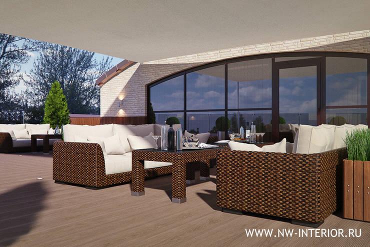 Дизайн открытой террасы на крыше здания.:  в . Автор – дизайн-студия Nw-interior