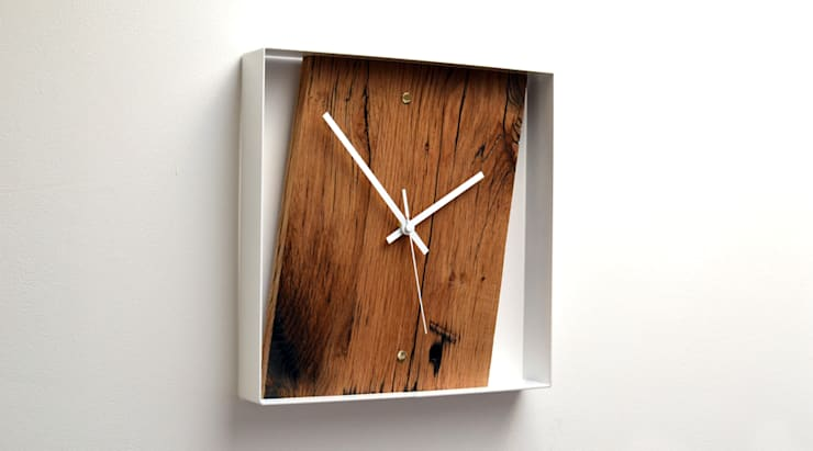 RECLAIMED FRENCH OAK WALL CLOCK:  Living room by Jam Furniture