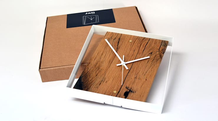 RECLAIMED FRENCH OAK WALL CLOCK:  Office spaces & stores  by Jam Furniture