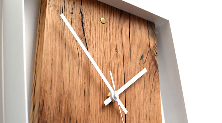 RECLAIMED FRENCH OAK WALL CLOCK:  Multimedia room by Jam Furniture
