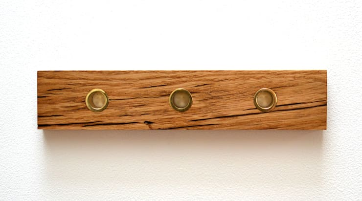 RECLAIMED FRENCH OAK KEY HOLDER WITH SOLID BRASS KEY FOBS:  Household by Jam Furniture