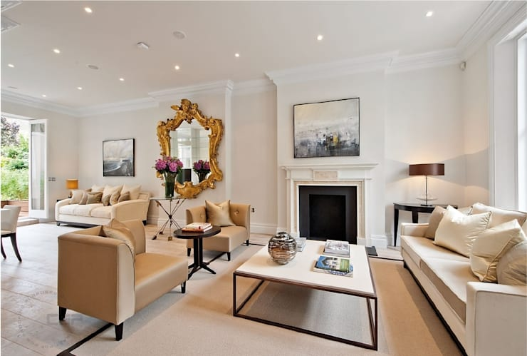 Chelsea Family House:  Living room by Black and Milk | Interior Design | London