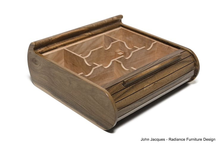 Solid English Walnut Tambour Roll Lid Humidor:  Dressing room by Radiance Furniture Design