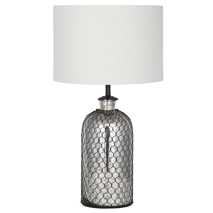 Netted Mercury Glass Table Lamp:  Living room by House Envy