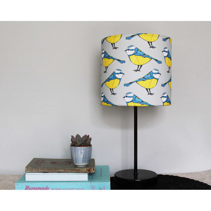 Bold Blue Tit Handmade Lampshades :  Living room by martha and hepsie ltd