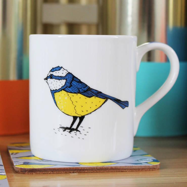 Bold Blue Tit Mug:  Kitchen by martha and hepsie ltd