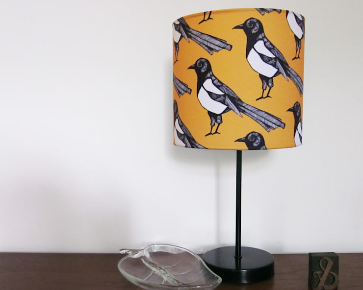 Mischievous Magpie Lampshade: modern Living room by martha and hepsie ltd