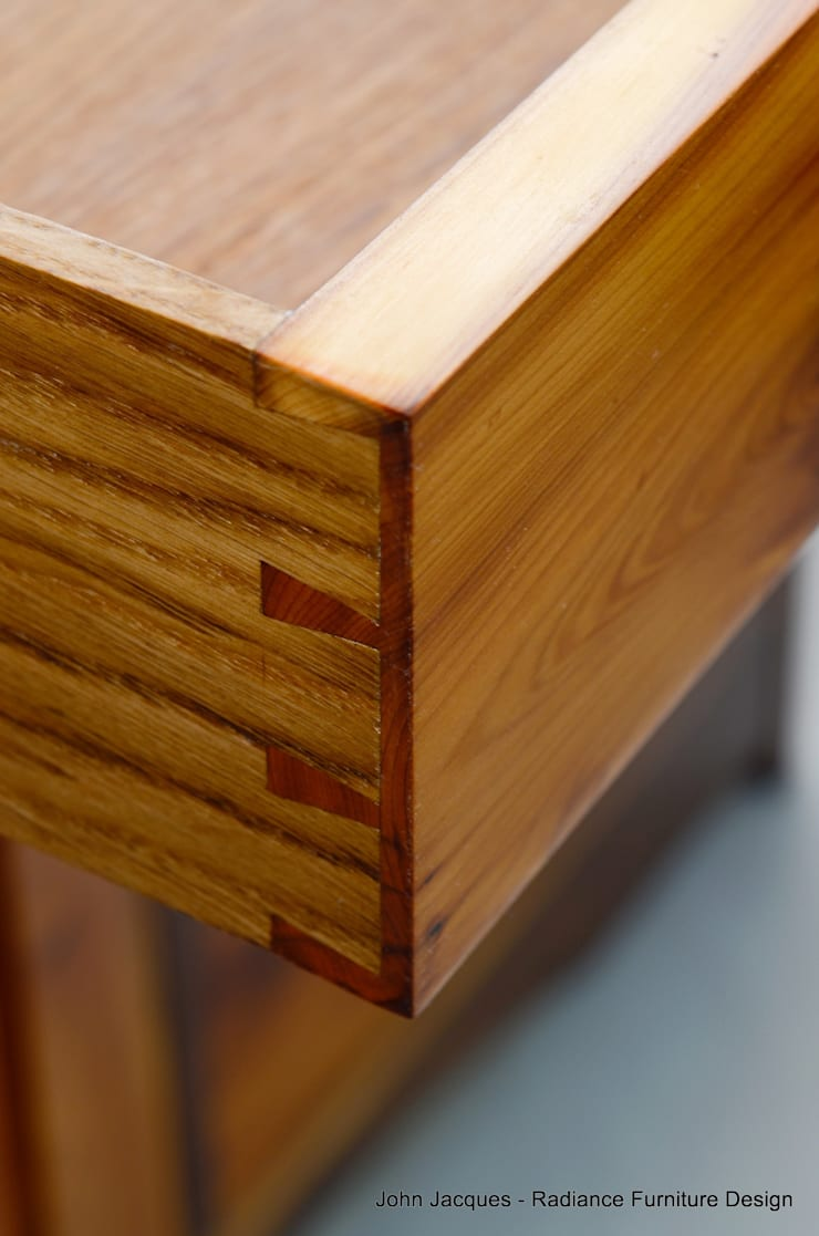 Ellipse Yew and Walnut Computer Bureau.:  Bedroom by Radiance Furniture Design