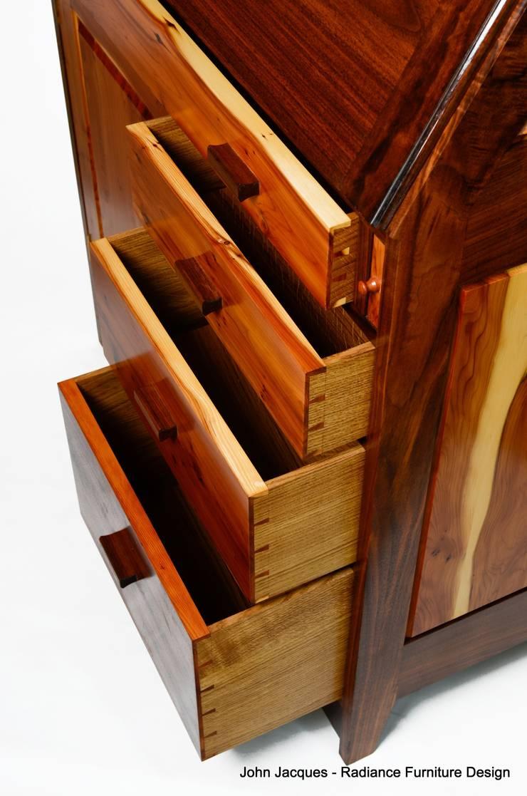 Ellipse Yew and Walnut Computer Bureau.:  Study/office by Radiance Furniture Design