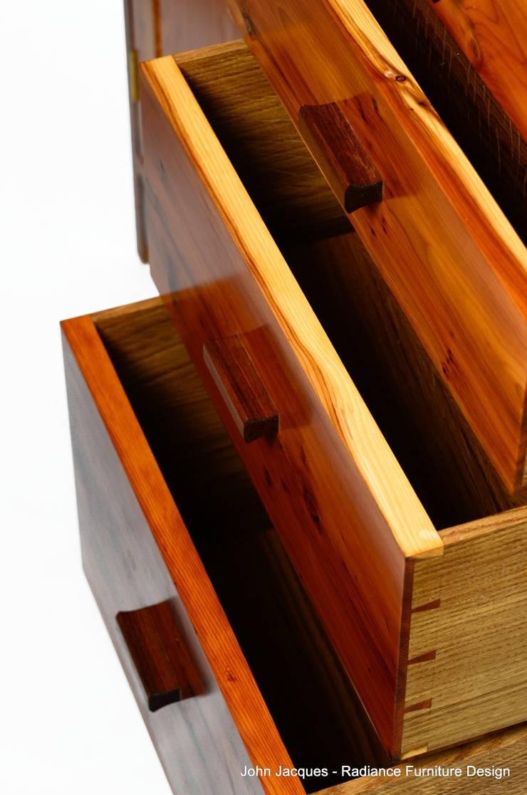 Ellipse Yew and Walnut Computer Bureau.:  Living room by Radiance Furniture Design
