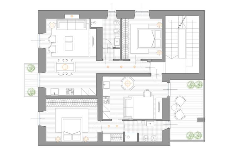 pianta appartamenti:  in stile  di Elisa Rizzi architetto,