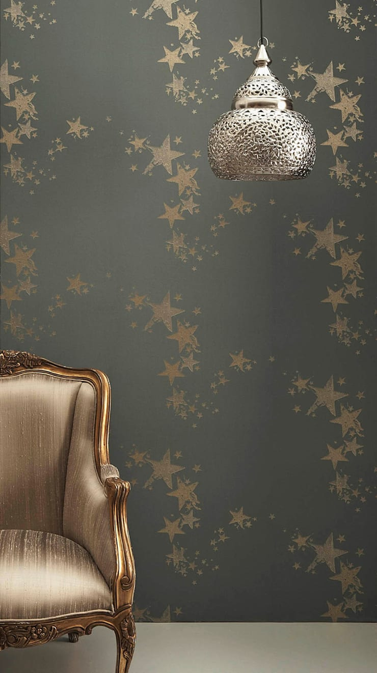 Star Wallpaper - Charcoal:  Walls & flooring by Mister Smith Interiors