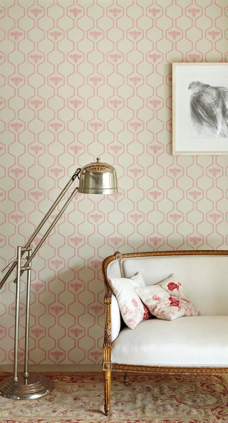 Bees in Hexagons Pink Wallpaper:  Walls & flooring by Mister Smith Interiors