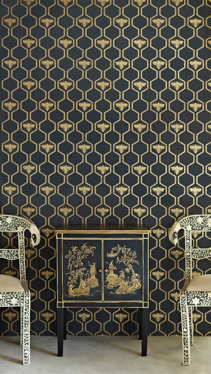 Bees in Hexagons Wallpaper:  Walls & flooring by Mister Smith Interiors