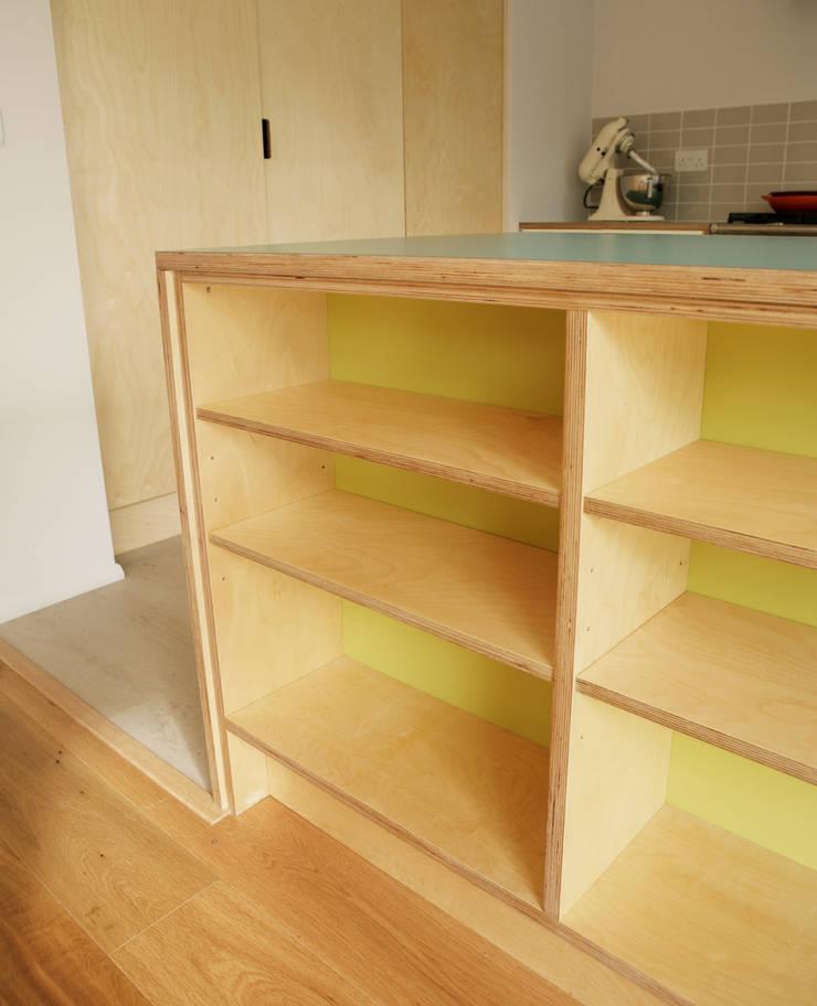Birch ply and formica kitchen storage:  Kitchen by Matt Antrobus Design