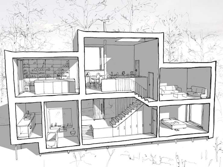 Sketch Section - split levels:   by Facit Homes