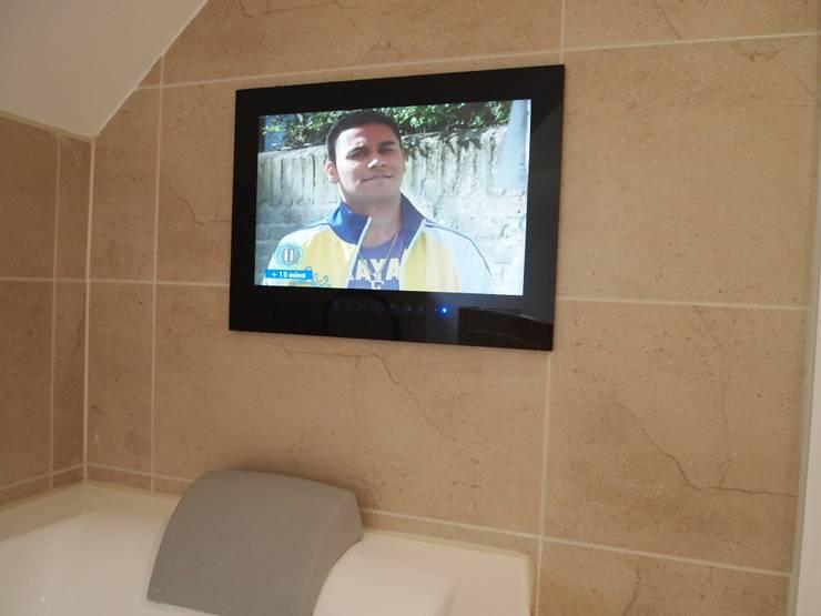 Bathroom Mirror TV:  Bathroom by Designer Vision and Sound