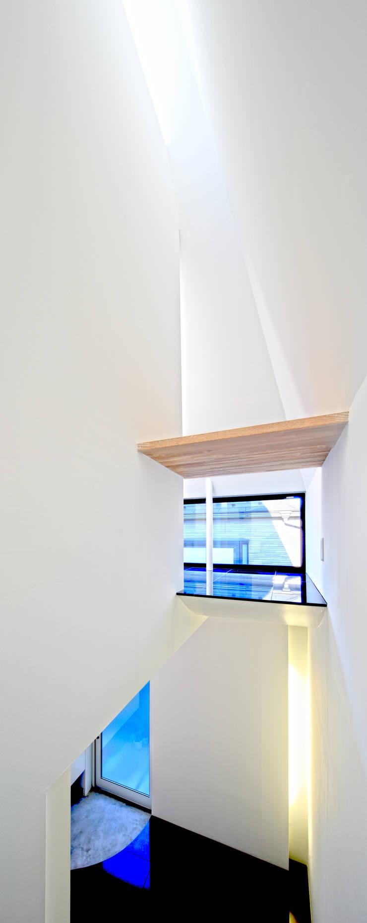 階段見返し: 濱嵜良実+株式会社 浜﨑工務店一級建築士事務所が手掛けた廊下 & 玄関です。