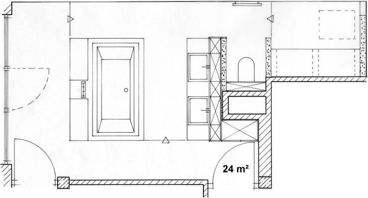 Grundriss Bad:   von hansen innenarchitektur materialberatung,
