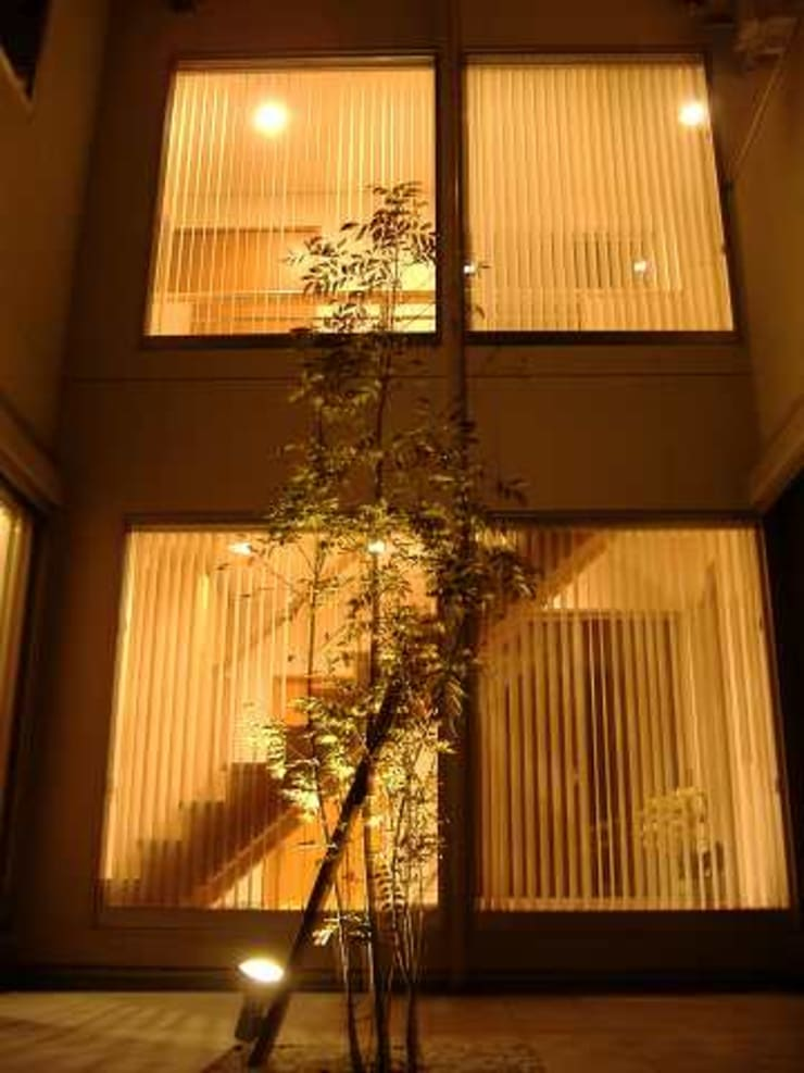 中庭より階段ホールの夜景 モダンな庭 の SD モダン