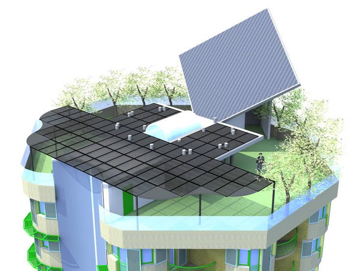 Toiture-jardin avec capteurs solaires: Terrasse de style  par ARCHIC