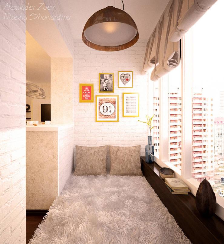 """1-комнатная квартира в ЖК """"Екатеринодар"""" (Краснодар): Tерраса в . Автор – Студия интерьерного дизайна happy.design, Модерн"""