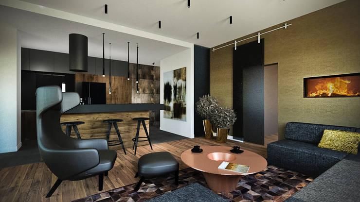 Apartament Wiślane Tarasy : styl , w kategorii Salon zaprojektowany przez MONOstudio