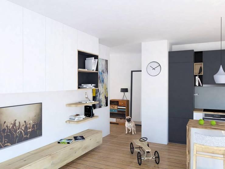 Mieszkanie Młodego Marynarza w Gdyni: styl , w kategorii Salon zaprojektowany przez BEZ CUKRU studio projektowe