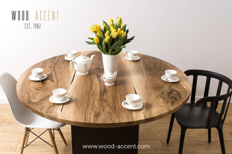 UNIKATOWE STOŁY DREWINANE WOOD ACCENT: styl , w kategorii Jadalnia zaprojektowany przez WOOD ACCENT,Skandynawski