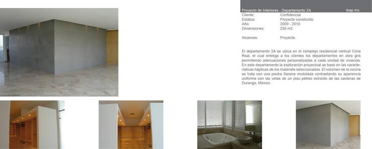 Apartamento 2A Cima Real: Recámaras de estilo  por LEAP Laboratorio en Arquitectura Progresiva