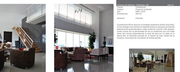 Penthouse B Cima Real: Salas de estilo  por LEAP Laboratorio en Arquitectura Progresiva