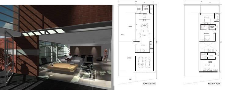 Casa Carrillo Rochin: Salas de estilo  por LEAP Laboratorio en Arquitectura Progresiva