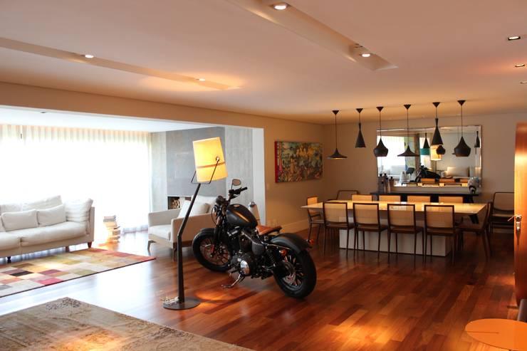 Sala de estar/jantar/varanda: Salas de estar  por Nataly Aguiar Interiores