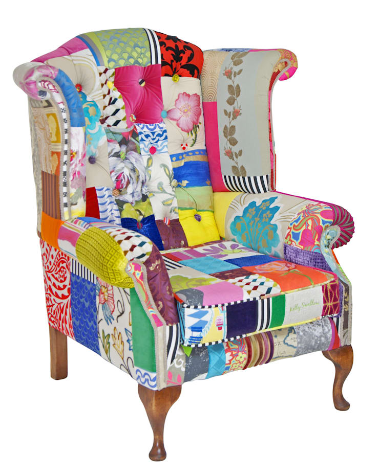 Made to Order 'Mad Hatter' wing chair:  Living room by Kelly Swallow