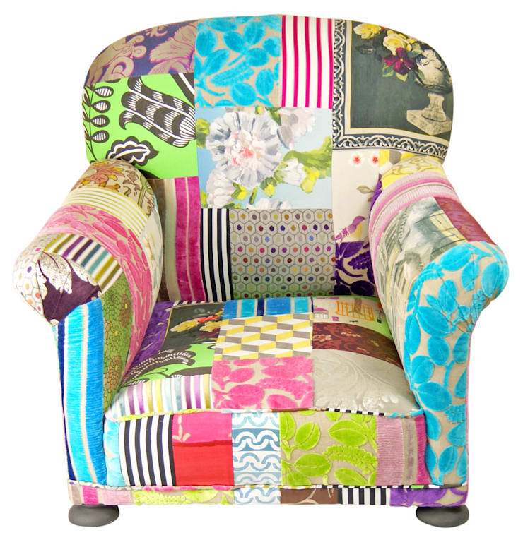 'Ready to Go' patchwork chairs available for sale at http://www.kellyswallow.com/products/:  Living room by Kelly Swallow