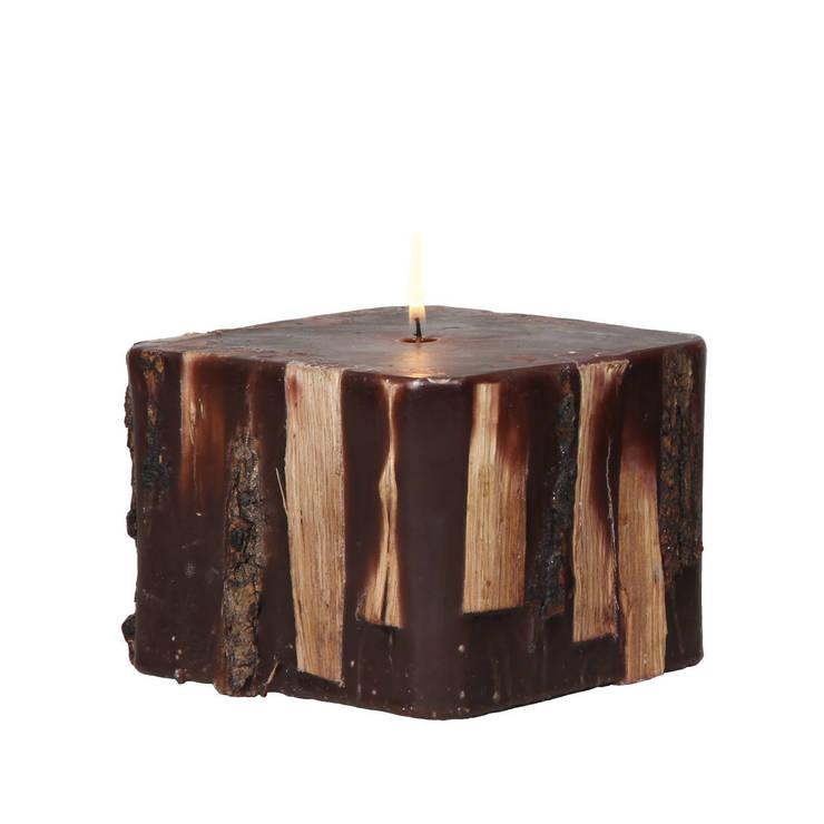 Tay Mum – Odunlu Şömine Mumu - Kare / Fireplace candle - Square:  tarz İç Dekorasyon